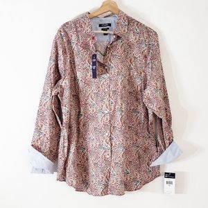 Chaps Button Up Plus Size 1X Paisley Design NWT